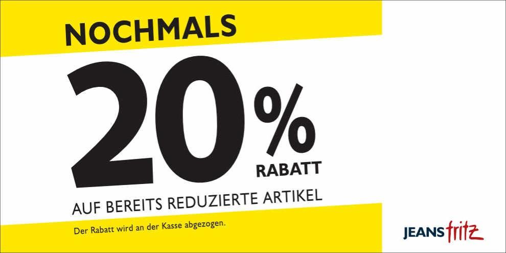 20% Rabatt bei Jeans Fritz