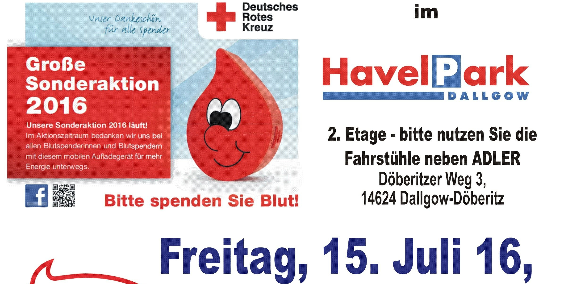 DRK - Blutspendeaktion am 15. Juli 2016