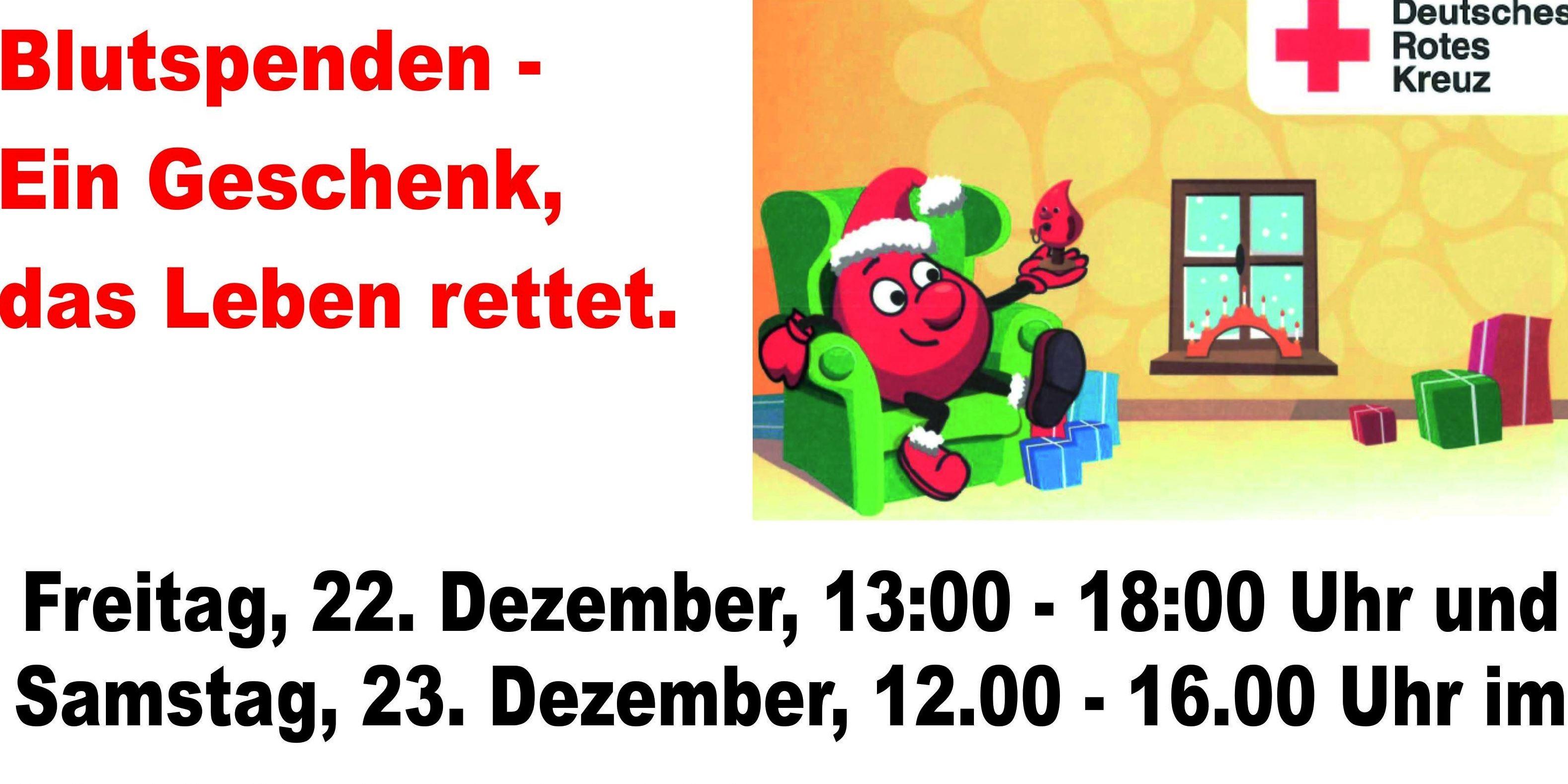 Blutspendeaktion am 22. und 23. Dezember 2017 im HavelPark Dallgow